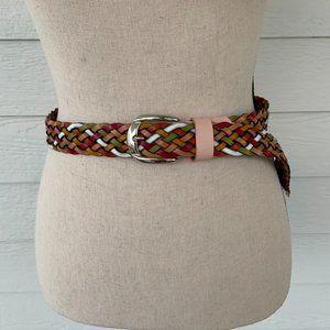 Braided Multicolor Italian Leather Belt M/L